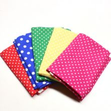 Pack of 5 100% Cotton Polka Dot Fat Quarters in Bright Shades
